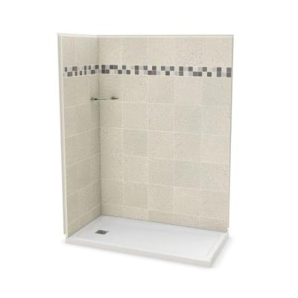 Utile Stone 32 in. x 60 in. x 83.5 in. Corner Shower Stall in Sahara with Left Drain Base in White
