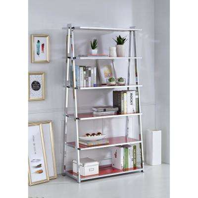 Coleen Red High Gloss and Chrome Leaning Bookcase