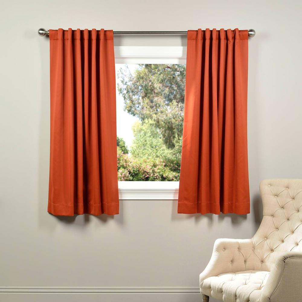 Exclusive Fabrics & Furnishings Semi-Opaque Blaze Orange Blackout Curtain - 50 in. W x 63 in. L (Panel)