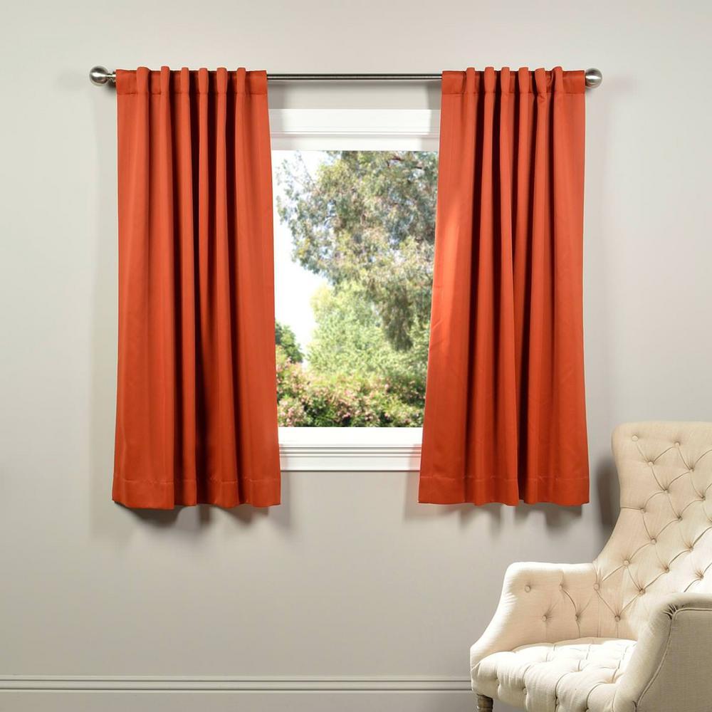 Exclusive Fabrics Furnishings Semi Opaque Blaze Orange Blackout Curtain