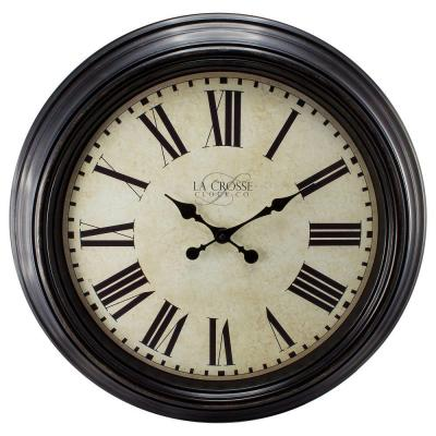 23 in. H Round Brown Antique Dial Analog Wall Clock with Roman Numerals