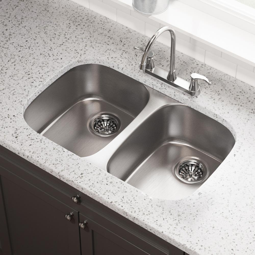 MR Direct Undermount Stainless Steel 35 in. Double Bowl Kitchen Sink