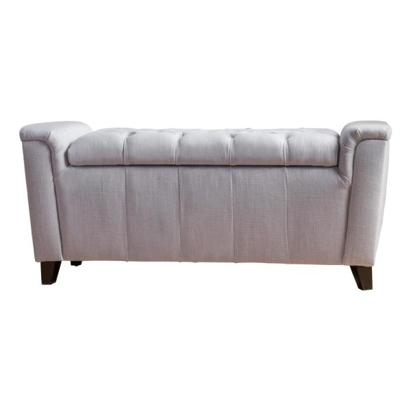 Noble House Argus Light Gray Fabric Armed Storage Bench