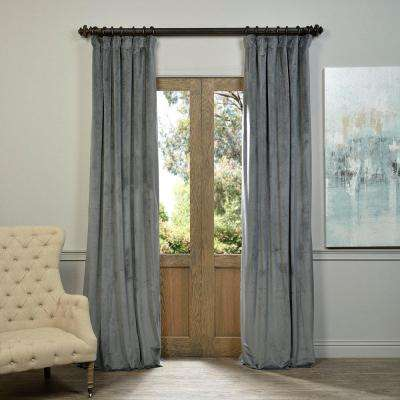 Blackout Signature Natural Grey Blackout Velvet Curtain - 50 in. W x 108 in. L (1 Panel)