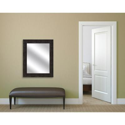 31.5 in. x 25.5 in. Stone Gray Framed Mirror