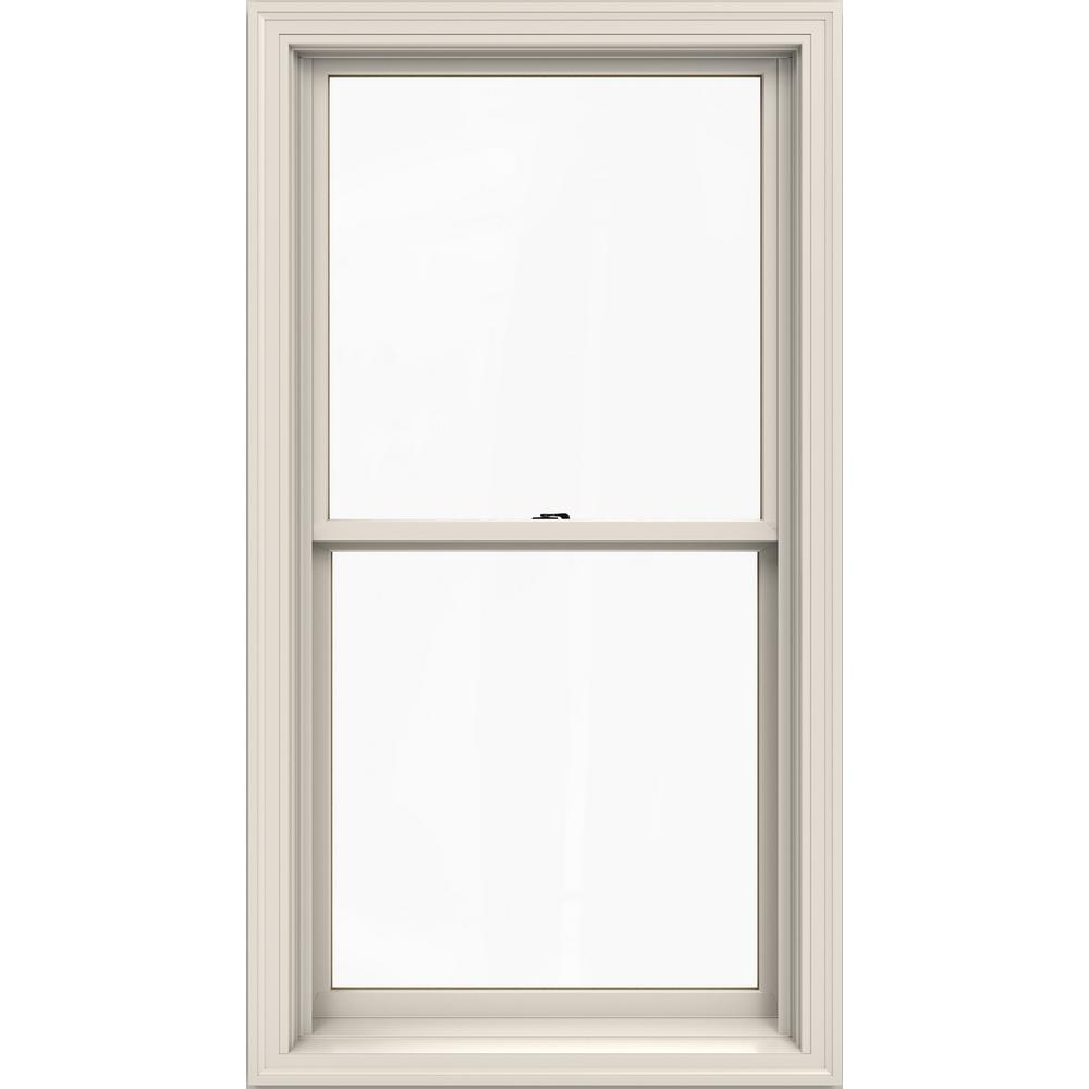 W 2500 Series White Painted Clad Wood Double Hung Window W/ Natural  Interior And Low E Glass