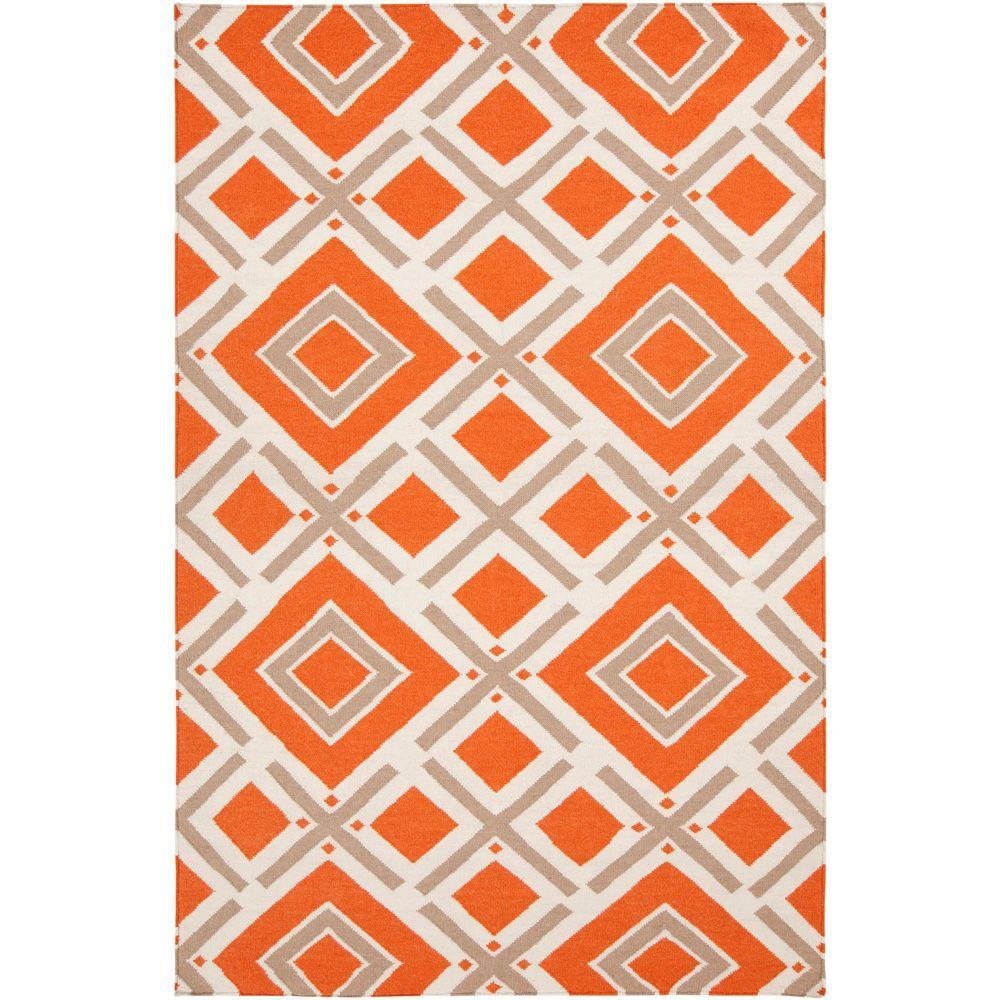 Surya Jill Rosenwald Orange-Red 2 ft. x 3 ft. Flatweave Accent Rug
