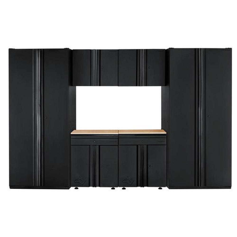 Husky Heavy Duty Welded 128 in. W x 81 in. H x 24 in. D Steel Garage Cabinet Set in Black (6-Piece)
