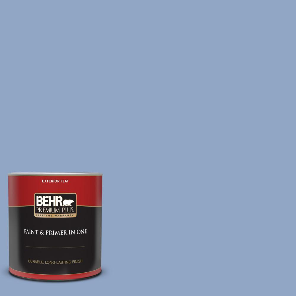 Behr Premium Plus 1 Qt Ppu15 13 Blue Hydrangea Flat Exterior Paint And Primer In One 440004 The Home Depot