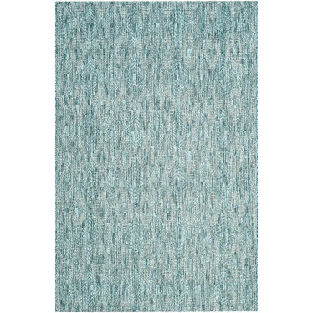 Safavieh Courtyard Aqua 9 Ft X 12 Ft Indoor Outdoor Area Rug