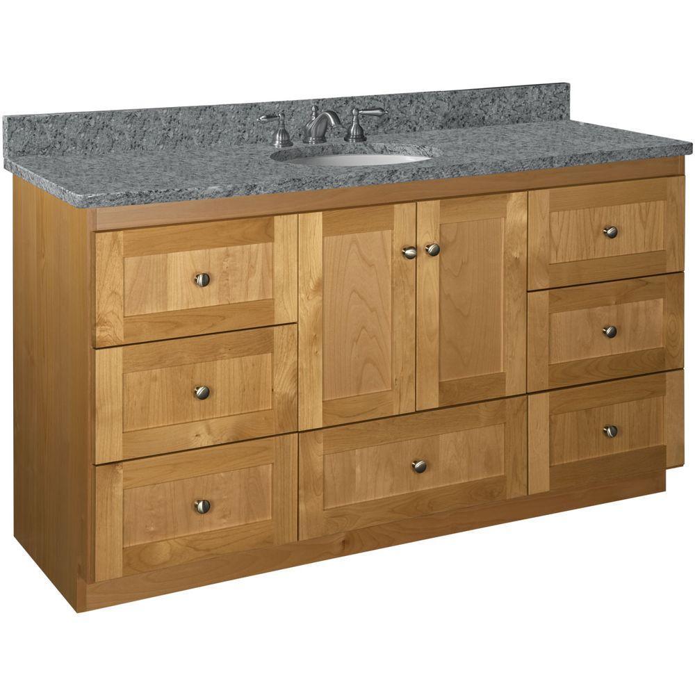 Shaker 60 in. W x 21 in. D x 34.5 in. H Vanity for Center Basin Cabinet Onlyl in Natural Alder