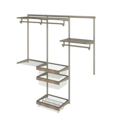 Closet Culture 16 in. D x 72 in. W x 78 in. H  with 3 Driftwood Wood Shelves Steel Closet System