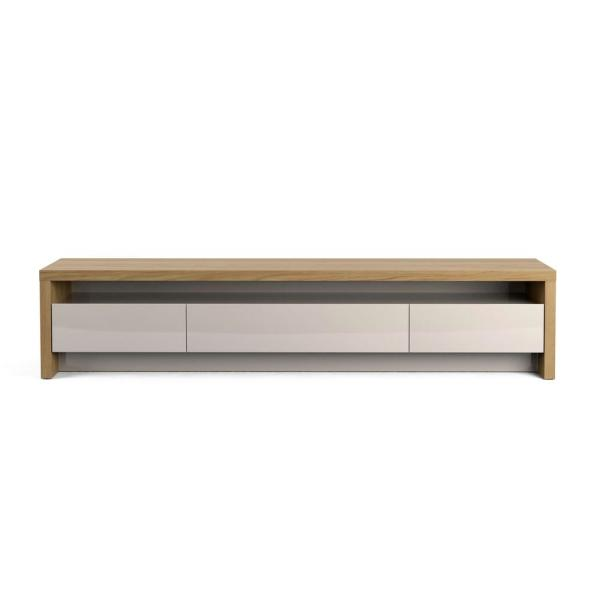 Sylvan 85 in. Nature and Off-White Particle Board TV Console with 3 Drawer Fits TVs Up to 70 in. with Cable Management