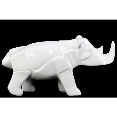 6 in. H Rhinoceros Decorative Figurine in White Gloss Finish
