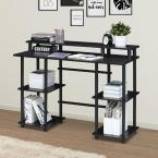 45 in. Rectangular Espresso/Black Writing Desk with Open Storage