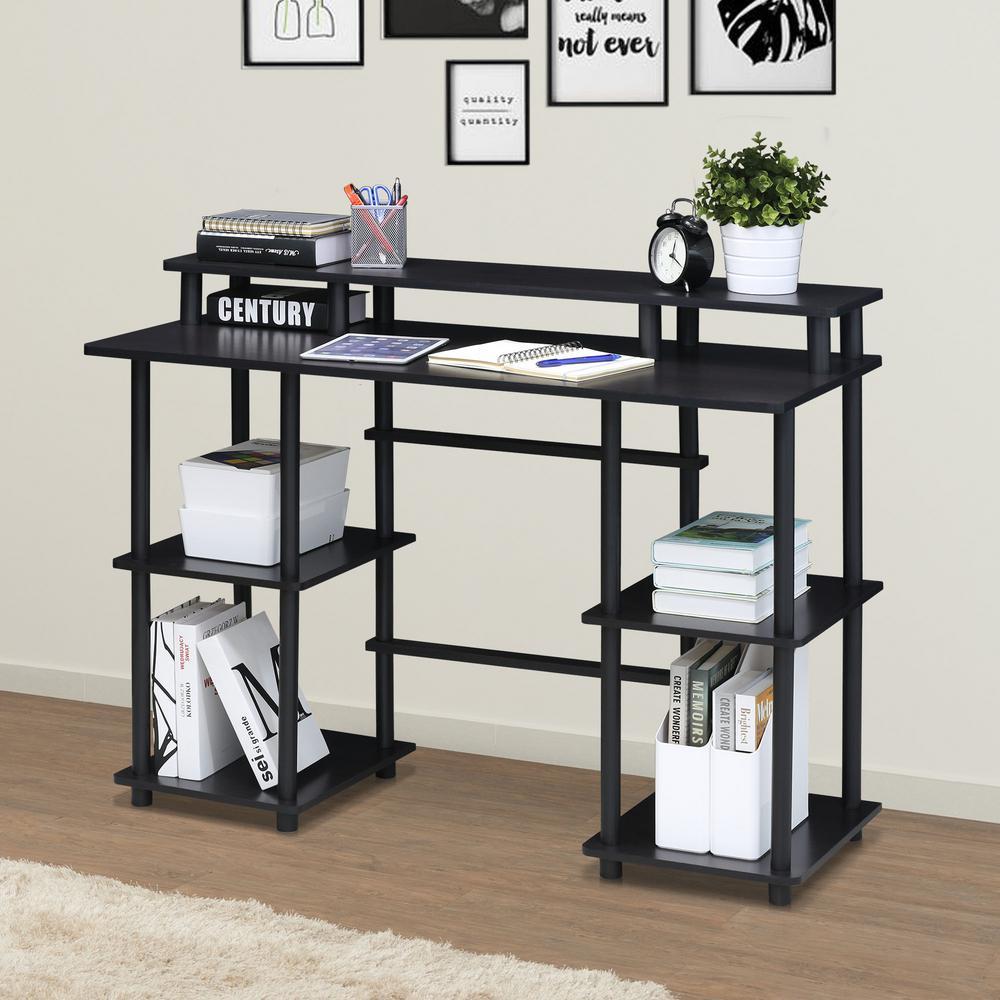 45 in. Rectangular Espresso/Black Writing Desk with Open Storage