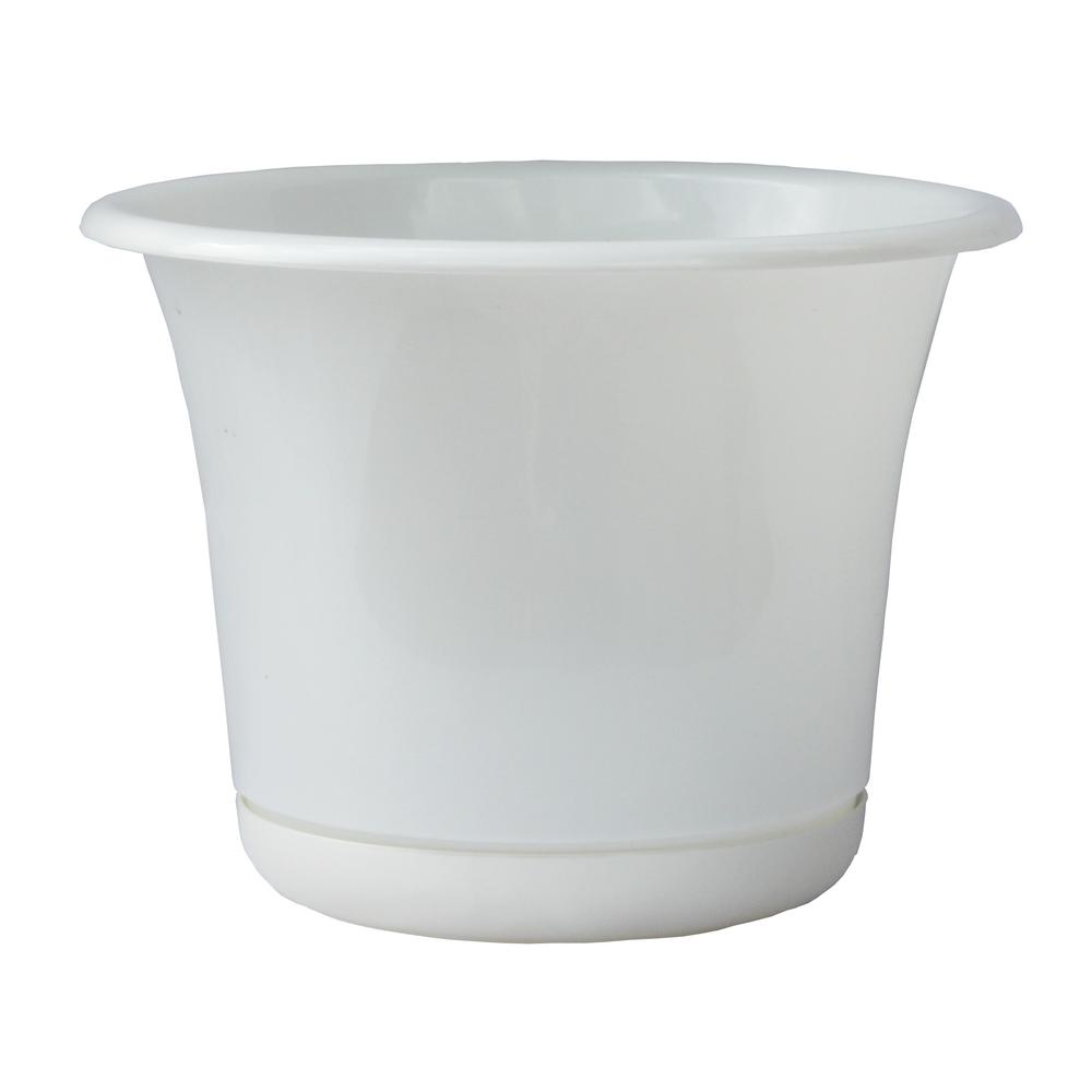 Bloem Expressions 12 in. x 10.75 in. White Plastic Planter and Matching Saucer