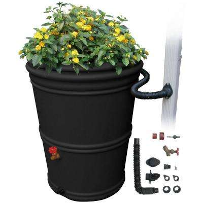 RainStation 65 Gal. Rain Barrel with Diverter in Recycled Black