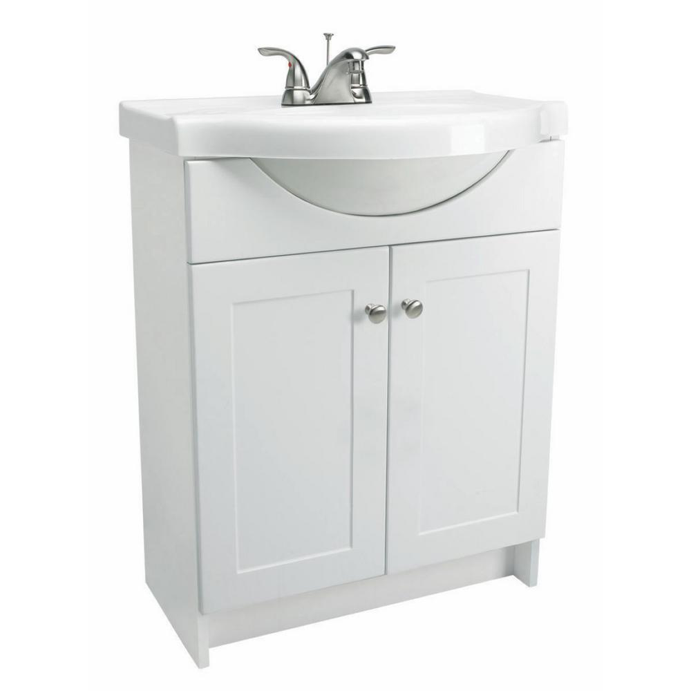 Euro Style Vanity In White With Cultured Marble Belly Bowl Vanity