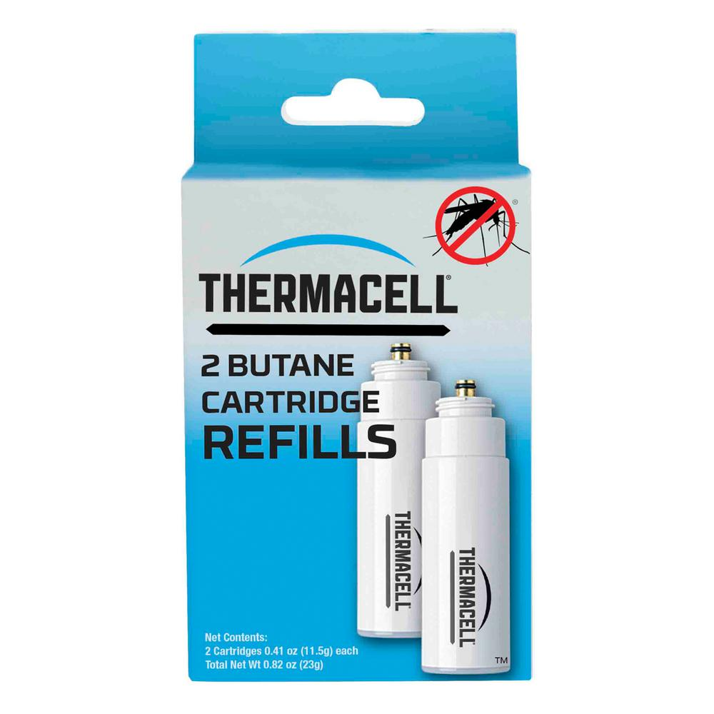 Thermacell Mosquito Repellent Replacement Butane Cartridges (2-Pack) The Thermacell Cartridge 2-Pack Refill effectively repels mosquitoes by creating a 15 ft. zone of protection when used with fuel-powered Thermacell devices and Thermacell Repellent Mats. Use this Fuel-only refill when you have spare Thermacell Repellent Mats. Thermacell products are safe, effective and come with a 100% Satisfaction Guarantee. With Thermacell, Turn it on… Mosquitoes GONE!