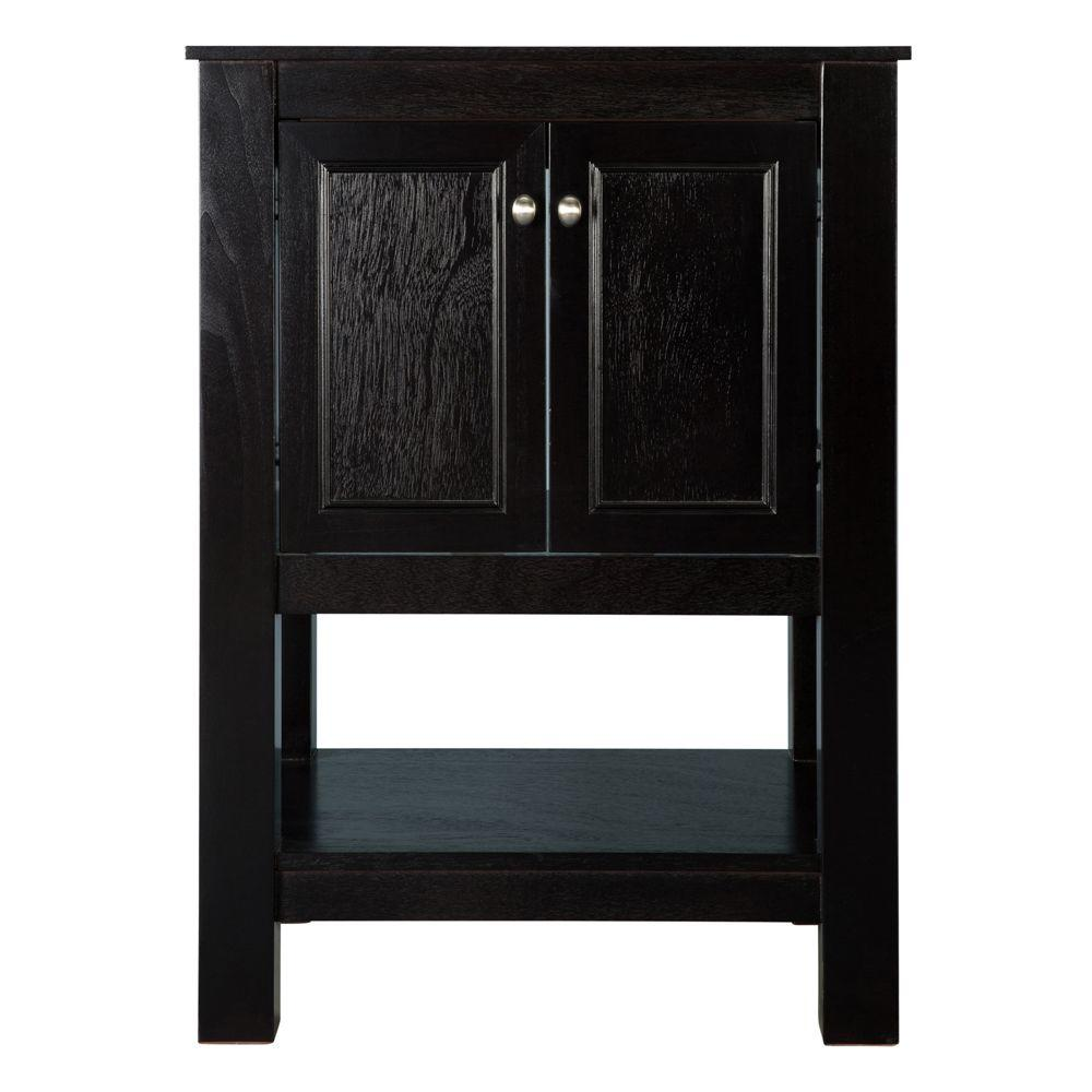 Home Decorators Collection Gazette 25 in. x 19 in. Vanity in Espresso with Granite Vanity Top in Sircolo with White Sink