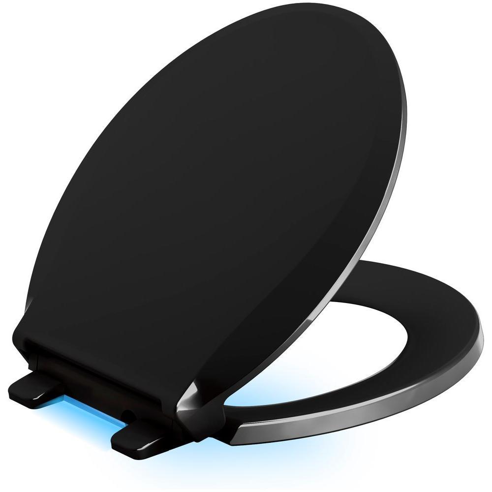 Cachet LED Nightlight Round Quiet Closed Front Toilet Seat in Black Black