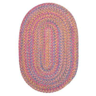 Seabrook Chenille Pink 3 ft. x 5 ft. Oval Braided Area Rug