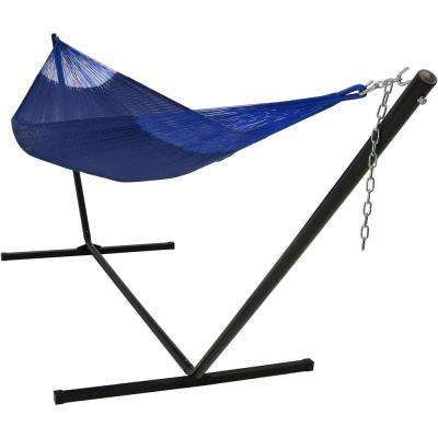 13 ft. 2-Person Hand-Woven Mayan Hammock Bed with 15 ft. Stand in Blue