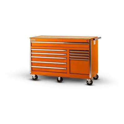 Tech Series 56 in. 10-Drawer Roller Cabinet Tool Chest with Wood Top in Orange