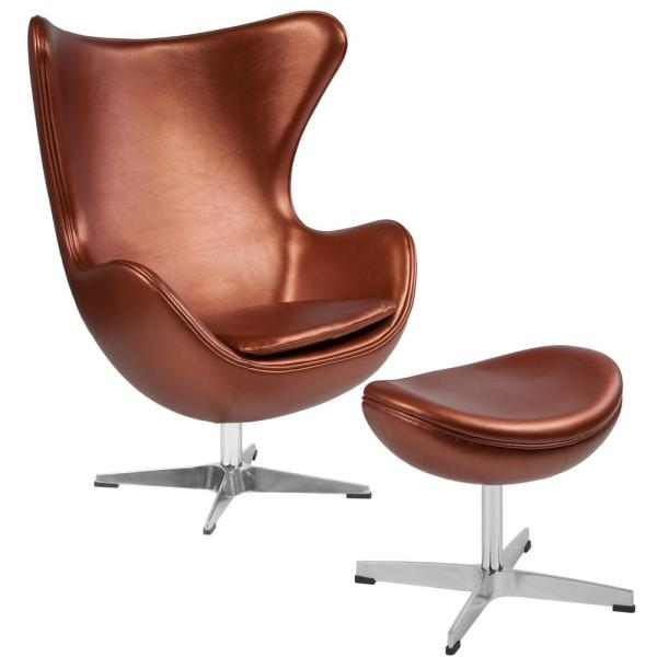 Copper Leather Chair and Ottoman Set