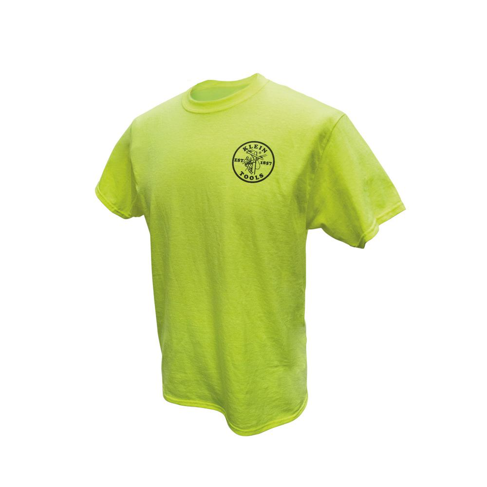 Klein Tools Men's Size Extra Large High Visibility Green Cotton/Poly Short Sleeved T-Shirt