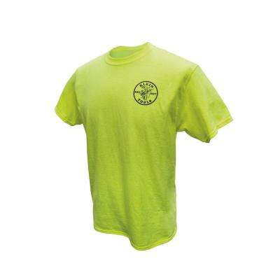 Men's Size Medium High Visibility Green Cotton/Poly Short Sleeved T-Shirt