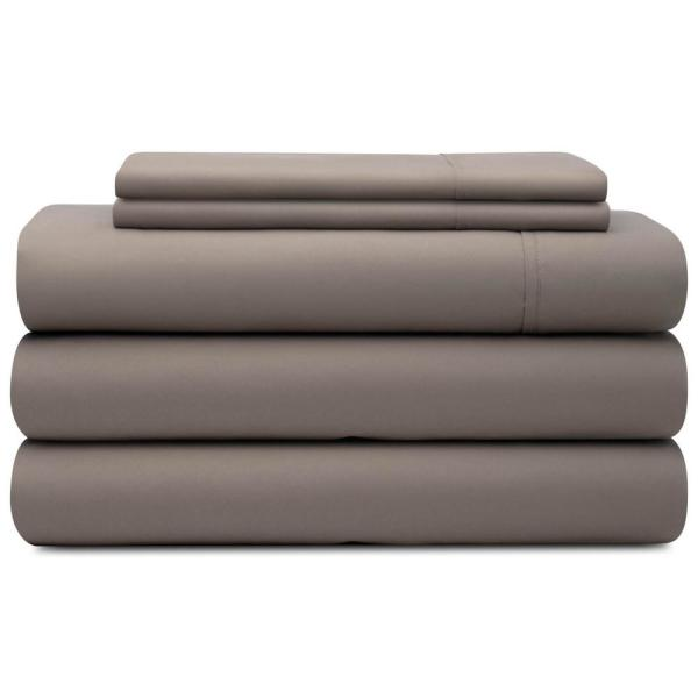 5-Piece Sandstone Solid Microfiber California King - Split Sheet Set