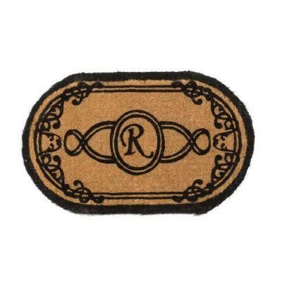 Perfect Home Lexington Oval Monogram Mat, 36 in. x 72 in. x 1.5 in. Monogram R-DISCONTINUED