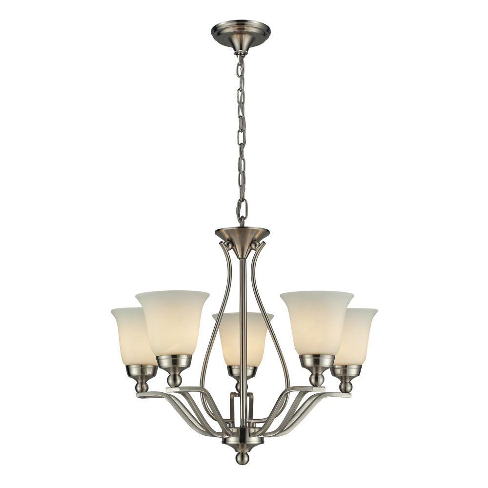 Titan Lighting Sullivan 5-Light Ceiling Brushed Nickel Chandelier