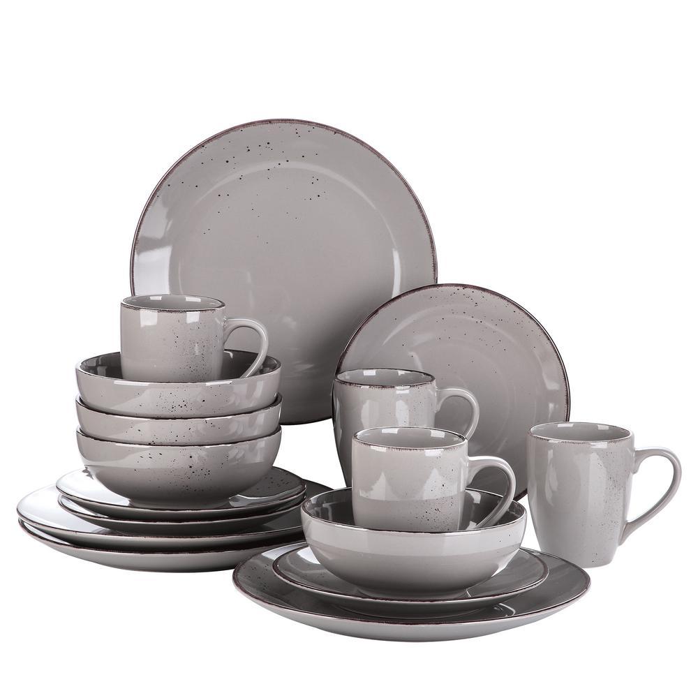 Series Navia Jardin Dinner Set 16-Pieces Gray Vintage Porcelain Dinner Dessert Plate Cereal Bowl Mug (Service for 4)