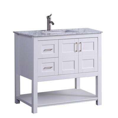 Nord 36 in. W x 22 in. D x 36 in. H Bath Vanity in White with Carrara Marble Vanity Top in Grey/White with White Basin