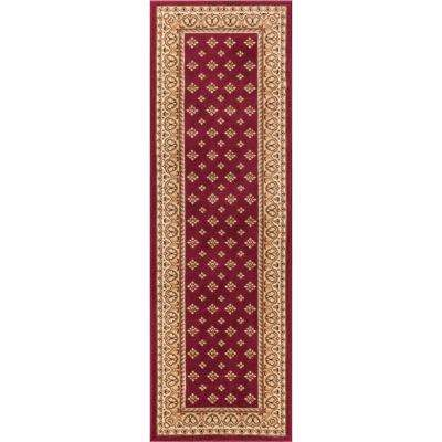 Barclay Hudson Terrace Red 2 ft. x 7 ft. Traditional Border Runner Rug