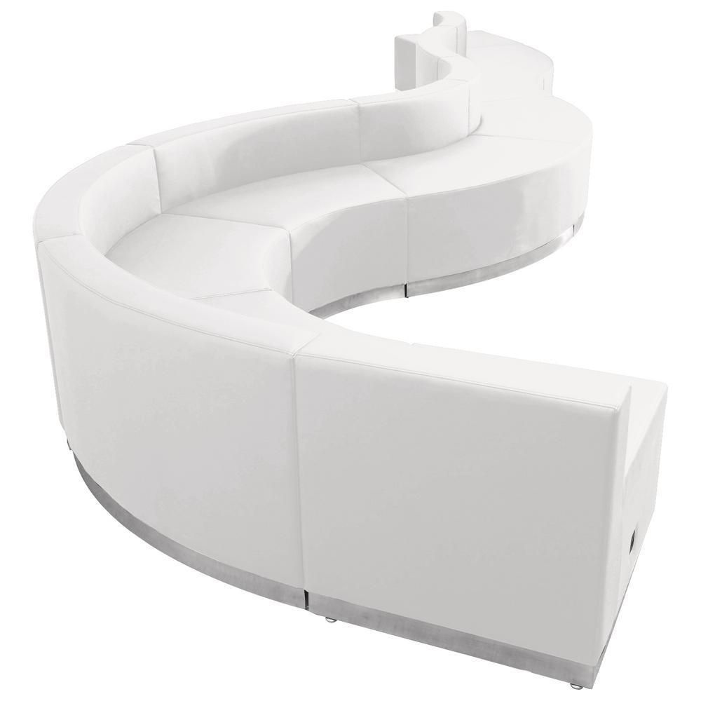 Hercules Alon Series 9-Pieces White Leather Reception Configuration