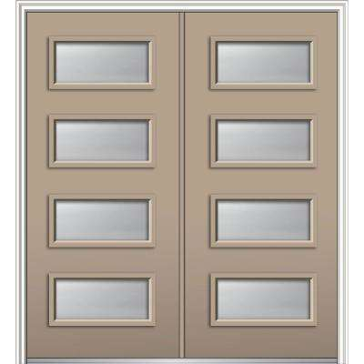 64 in. x 80 in. Celeste Right-Hand Inswing 4-Lite Clear Low-E Painted Fiberglass Smooth Prehung Front Door