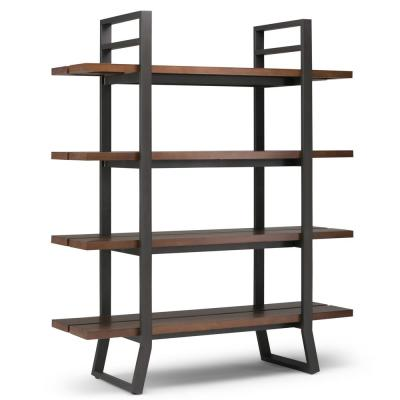 Adler Solid Wood and Metal 66 in. x 54 in. Modern Industrial Bookcase in Light Walnut Brown