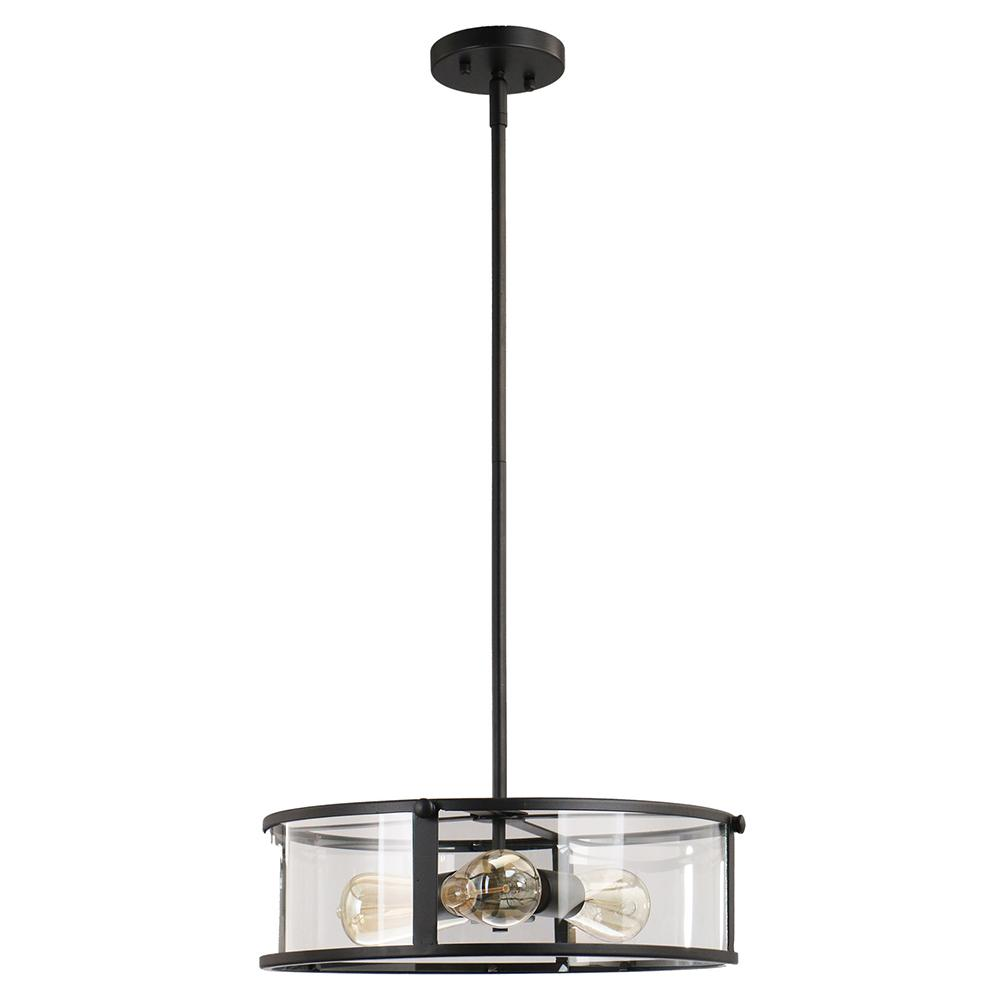 DSI Brooklyn Collection 3-Light Black Pendant with Clear Glass Shade