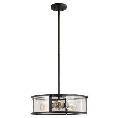 Brooklyn Collection 3-Light Black Pendant with Clear Glass Shade