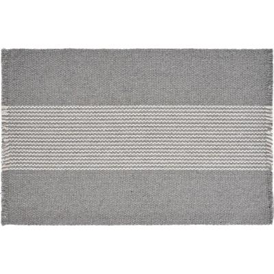 Bold 19 in. x 13 in. Gray Striped Cotton Placemats (Set of 4)