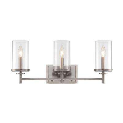 Harlowe 3-Light Satin Platinum Interior Incandescent Bath Vanity Light