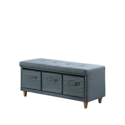 17.5 in. Magnolia Blue gray Tufted Bench with Storage Basket Drawers