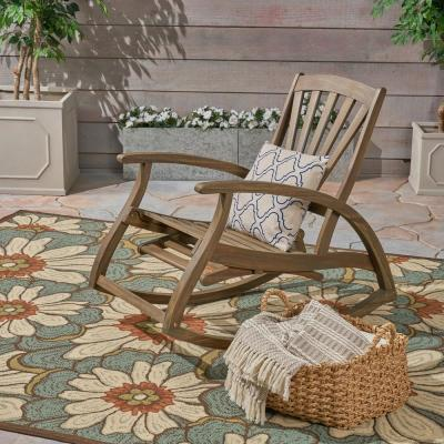 Sunview Gray Wood Outdoor Rocking Chair with Footrest