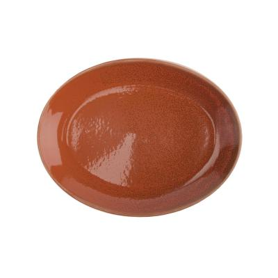 Cotta 11 in. Porcelain Red/Orange Coupe Oval/Round Platters (Set of 12)