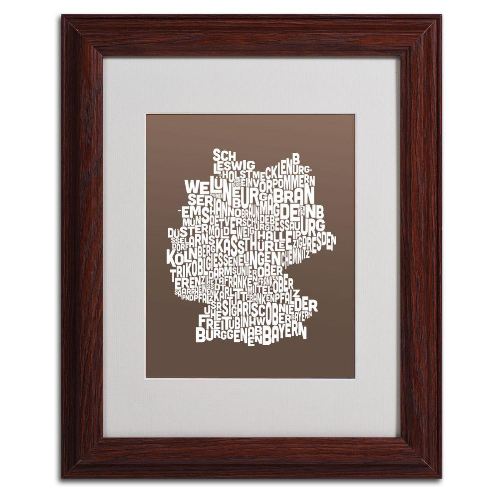 11 in. x 14 in. Germany Regions Map - Coffee Matted