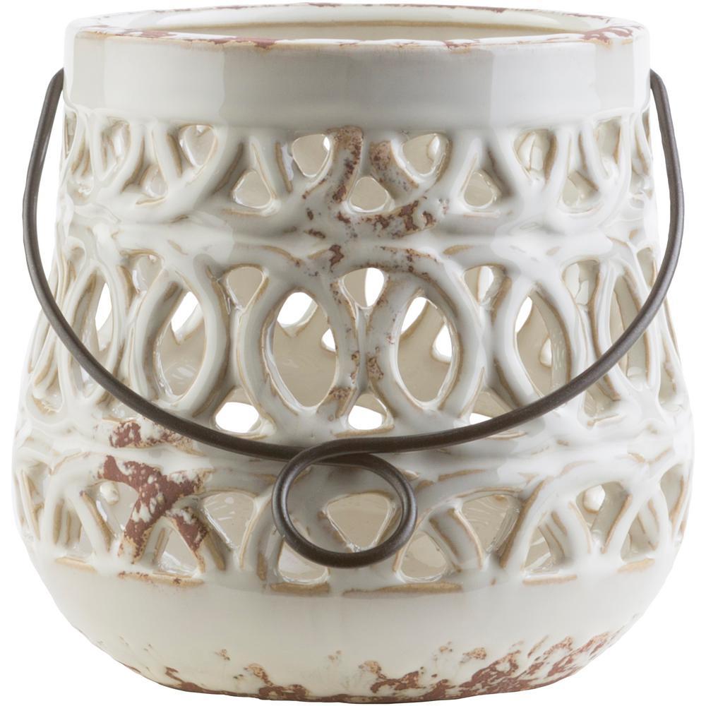 Jett 5.5 in. White Ceramic Lantern